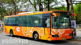 "Orange ""Circle"" Liveried Volvo City Bus in Bangalore"