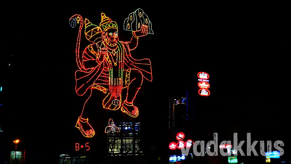 A portrait of Hanuman Swamy made using illumination lights in Bangalore