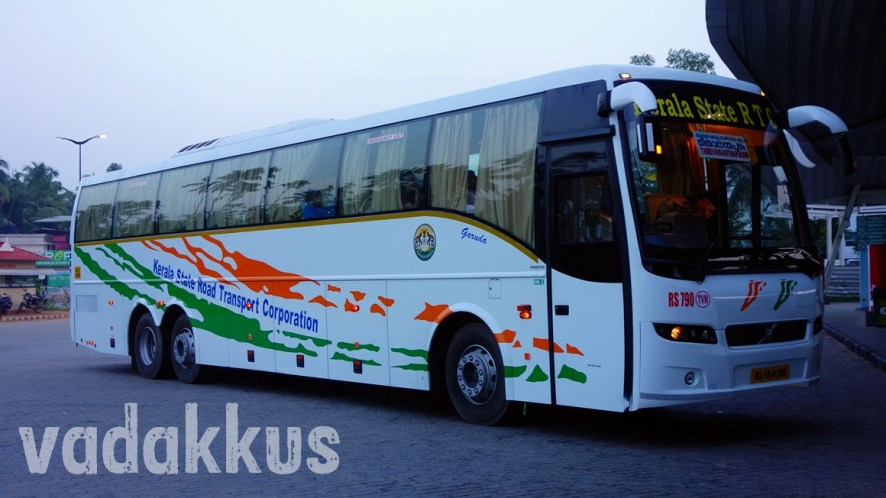 Kerala SRTC Volvo B9R at the Vyttila Mobility Hub at Daybreak