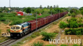 A Very Short Goods Train Passes Through Rural Tamil Nadu