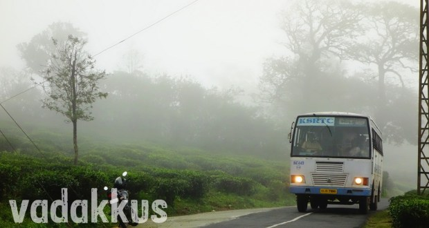 Beautiful picture of a KSRTC bus slowly emerging from the mist on the Elappara - Vagamon road in the high ranges, Idukki district, Kerala