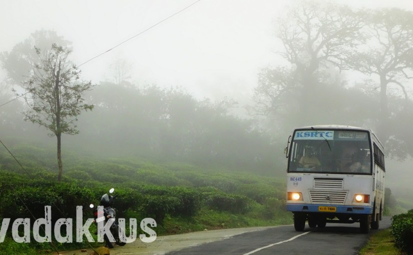 And from the Mist Covering the Hilly Road, a KSRTC Bus Emerges…
