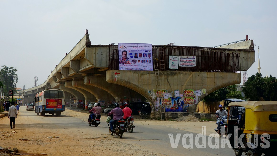 A half finished flyover in Bangalore at Hennur Cross, Outer Ring Road