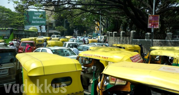 Traffic Jam of autorickshaws in Bangalore at Hudson Circle