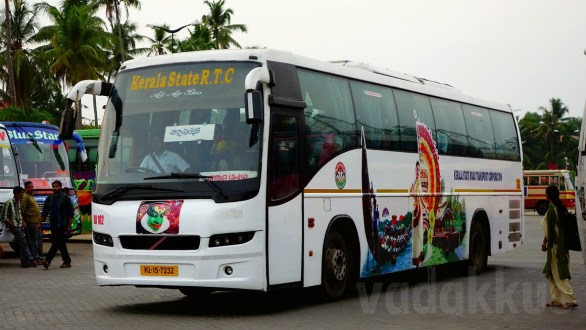 Kerala KSRTC's Old Volvo B7R RA102 in New Kerala Tourism Livery!