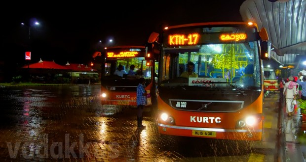 Kerala KURTC AC Low Floor Volvo Buses to Kottayam and Alappuzha at Vyttila