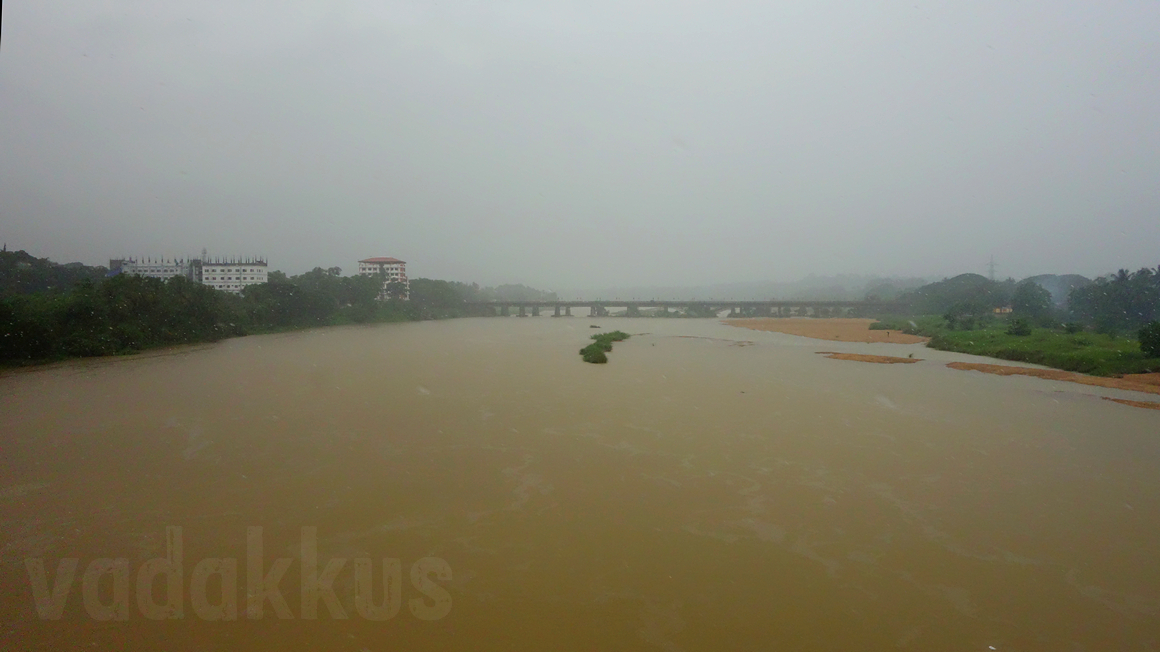 The Bharathapuzha River in Kerala during monsoon