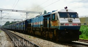 KJM WDP4 EMD Diesel Locomotive heading the Prasanthi Express at Baiyyappanahalli Bangalore