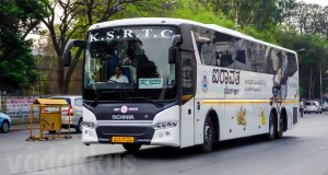 Karnataka SRTC Scania Metrolink multi axle bus as Airavat Diamond Clas
