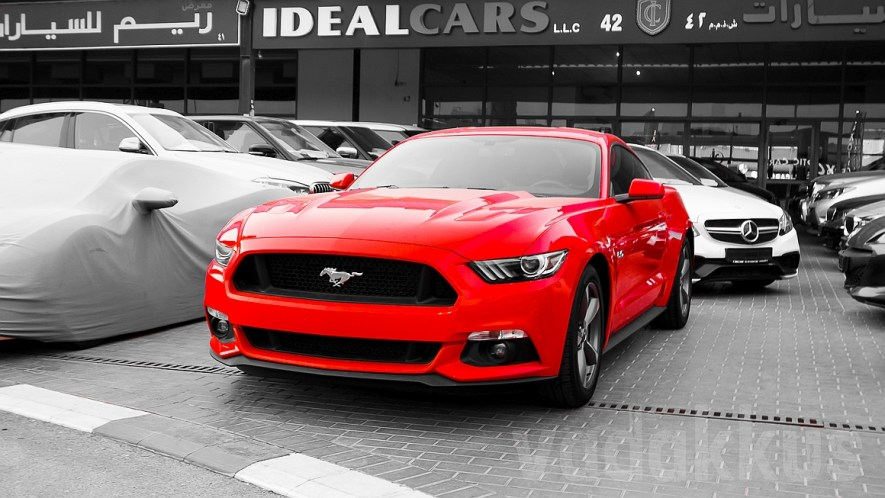 A Red 2016 Ford Mustang for Sale at Dubai's Al Aweer Market