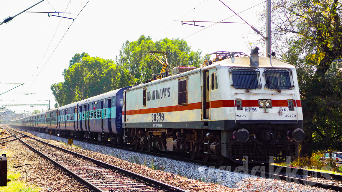 The Bangalore Chennai Brindavan Express train with WAP7 locomotive