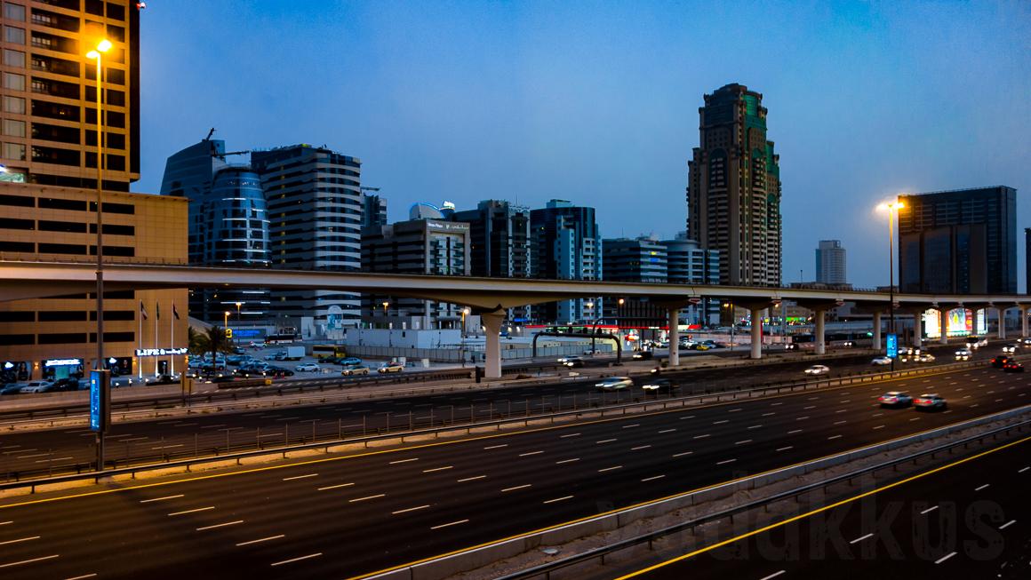 The Sheikh Zayed Road in Dubai at dusk, seen from Dubai Internet city