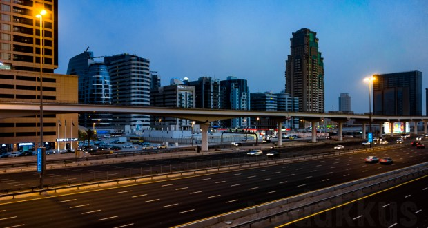The Sheikh Zayed Road in Dubai at dusk, seen from Dubai Internet city