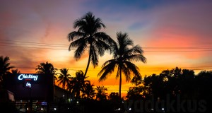 A picture of a colorful sunset at Kodimatha, Kottayam, Kerala, India