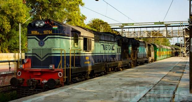 Twin ALCO diesel locomotives hauling the Garib Rath express train in Kerala India