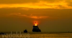 Golden Sunset Kochi Cochin Lake Kerala atop ship framed