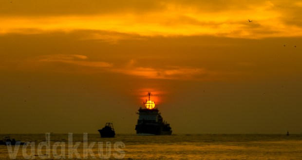 Golden Sunset Kochi Cochin Lake Kerala atop ship framed