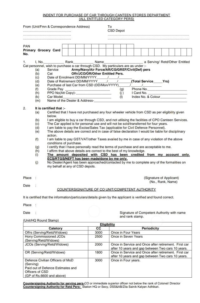CSD Depot Indent form for car