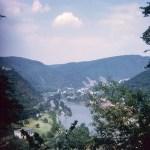 A valley, lake and bridge