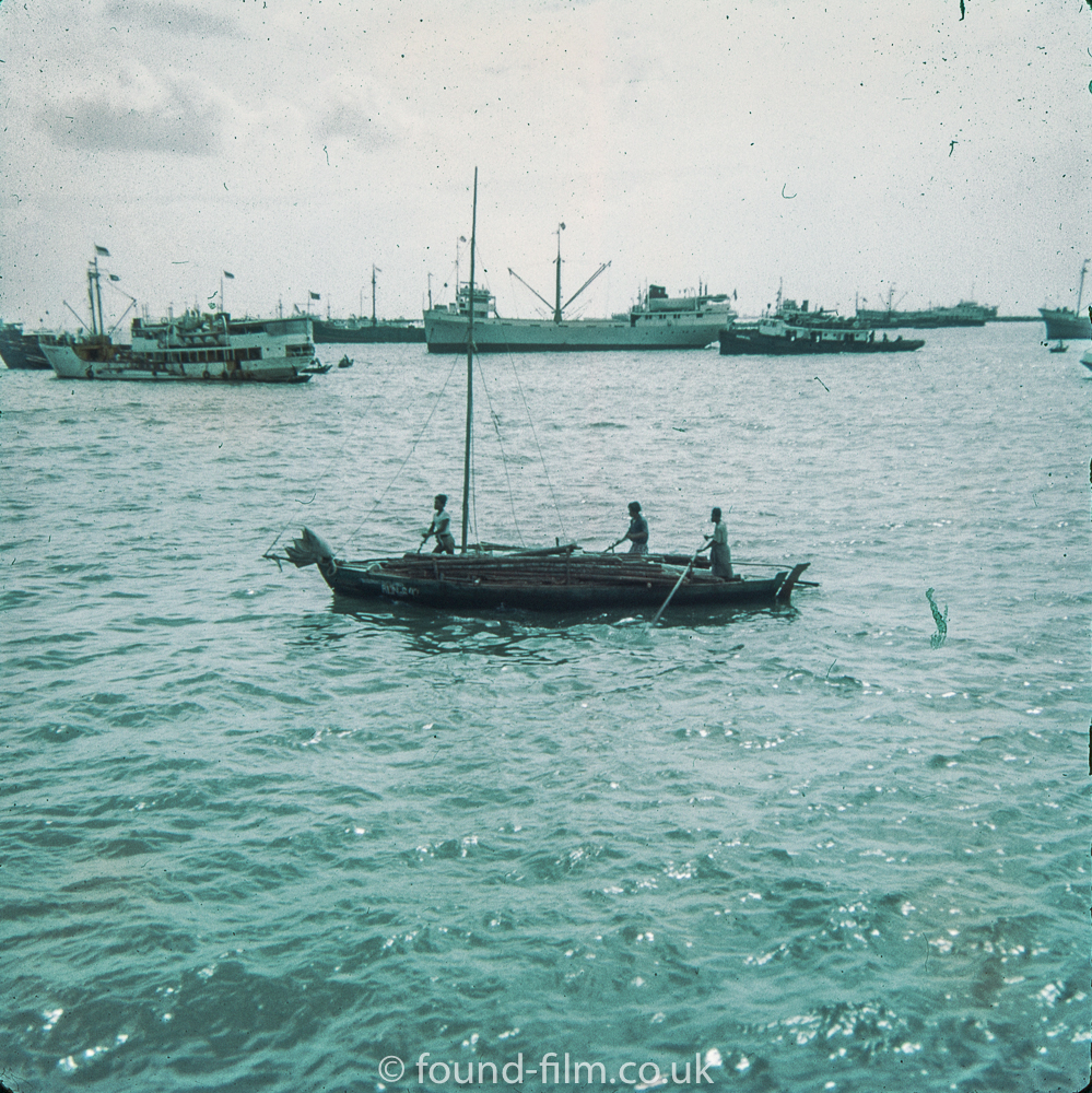 Boats in Singapore harbour in the early 1960s