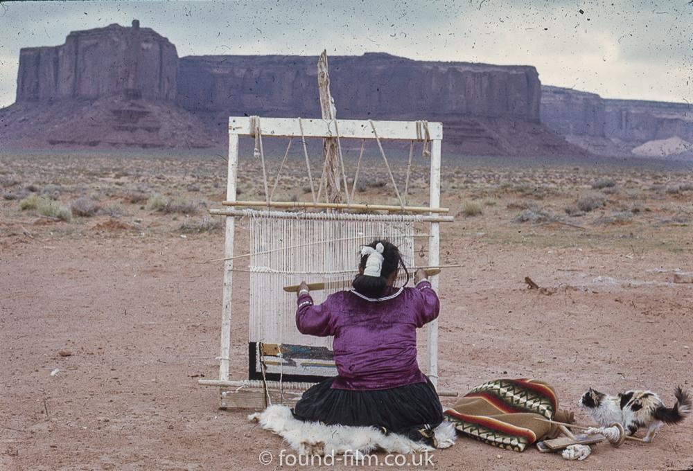 Navajo woman and loom