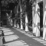Pillared corridor in black & white