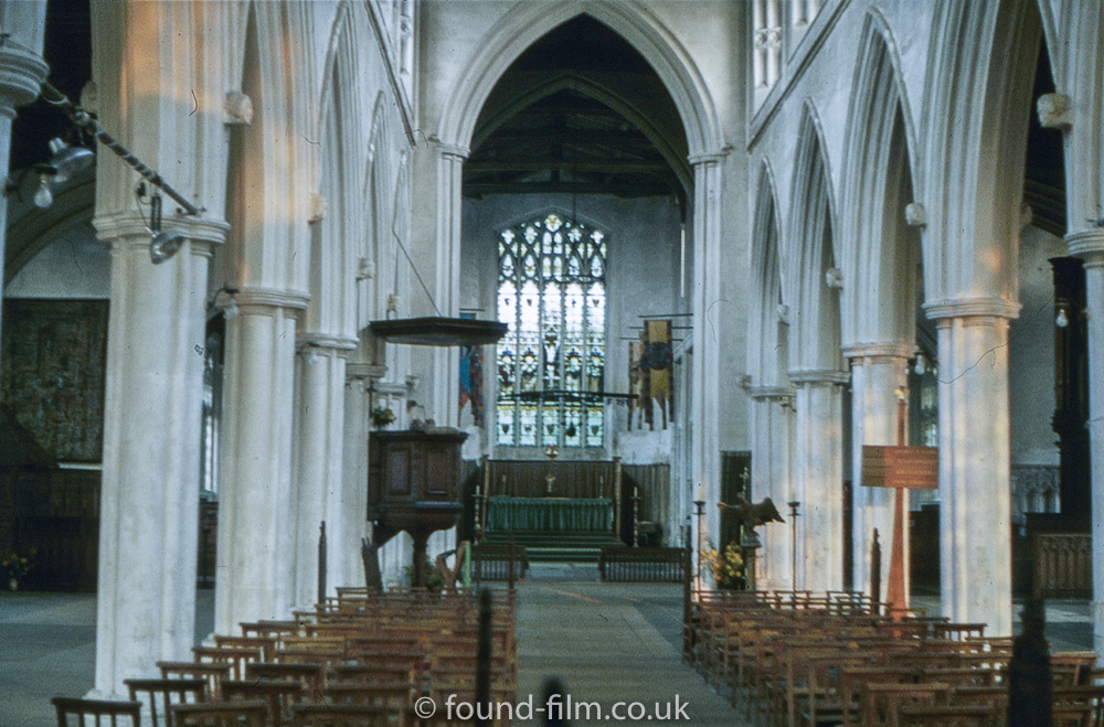 The interior of Thaxted church in Essex