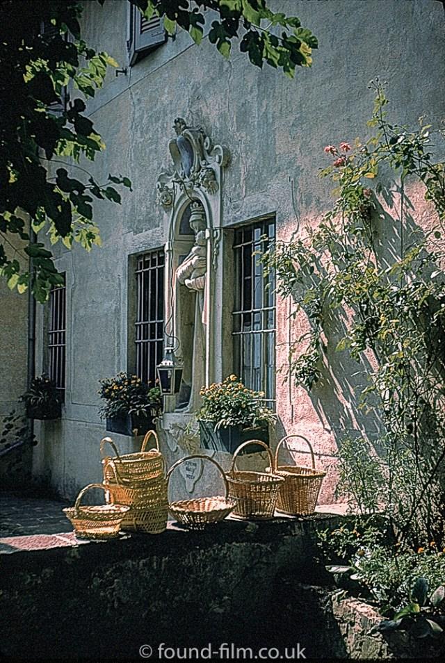 Baskets on a wall in Switzerland