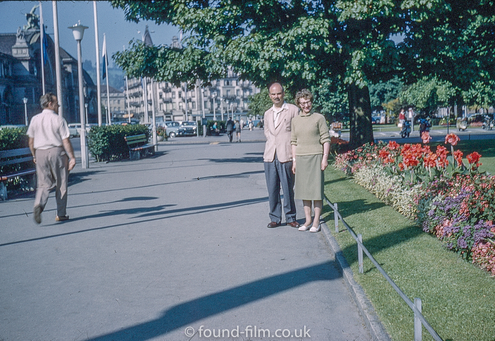 Couple by a garden in Lucerne, Switzerland in about 1961