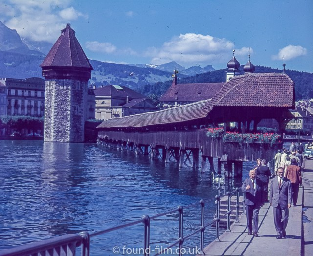 Pictures of Lakes and Mountains in Europe - The Kapellbrucke bridge in Lucerne c1960