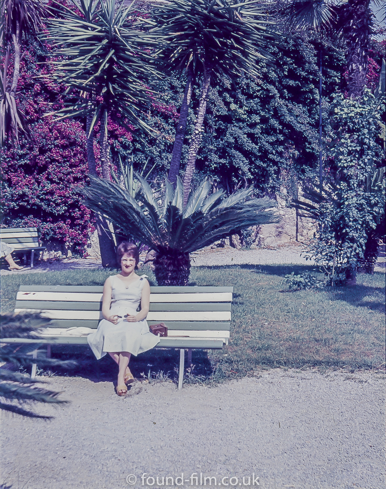 Portrait of a woman on a bench
