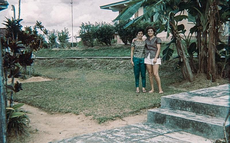 Two women in their garden in Singapore