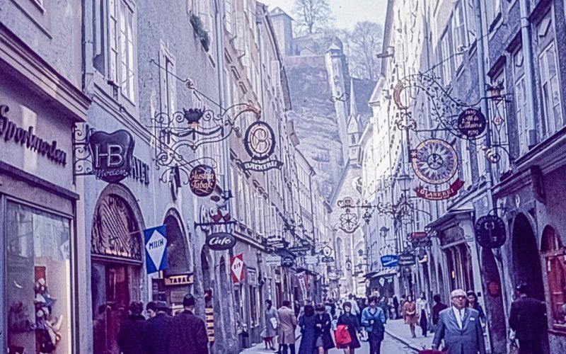 Getreidegasse in Salzburg, Austria in the 1960s