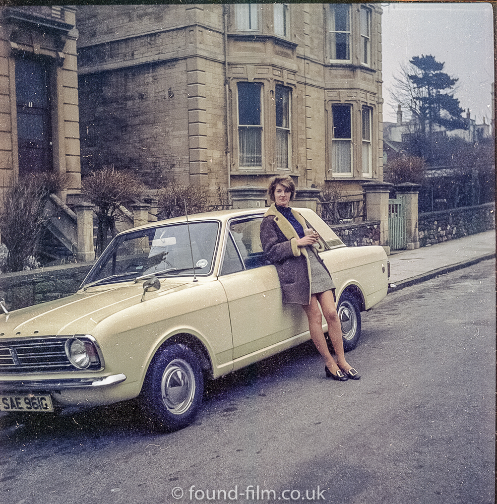 Woman with Ford Cortina in the 1970s