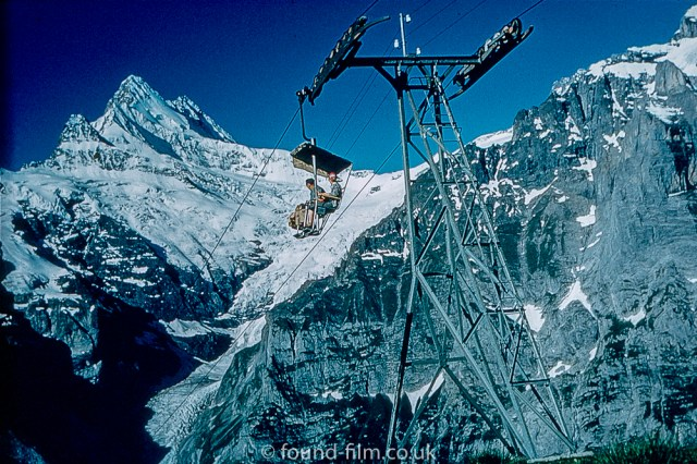 Pictures of Lakes and Mountains in Europe - Grindlewald Chairlift in Switzerland in the late 1950s