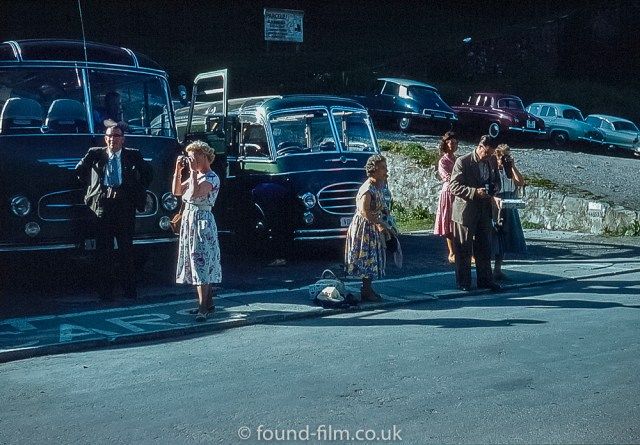 Holiday makers with their cameras in the 1950s