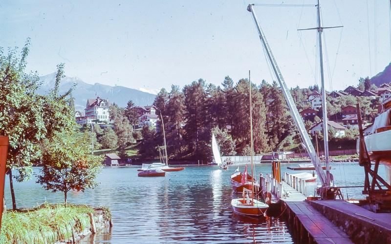 Yachting harbour in Spiez 1957