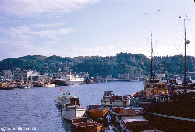 Kodachrome image of boats in the harbour at Oban