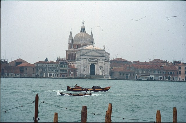 A picture from across the water of the Il Redentore church in Venice