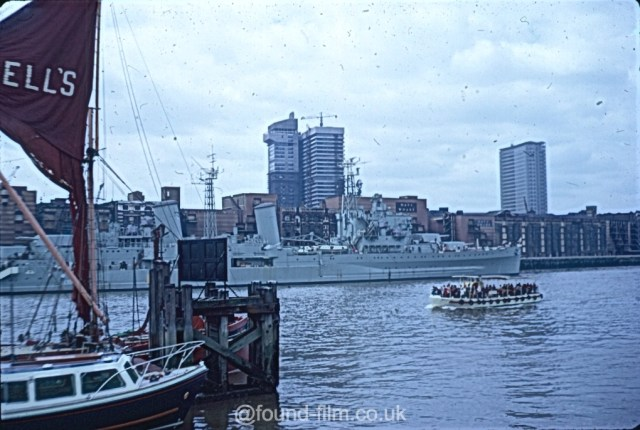 HMS Belfast on the Thames in London from August 1972