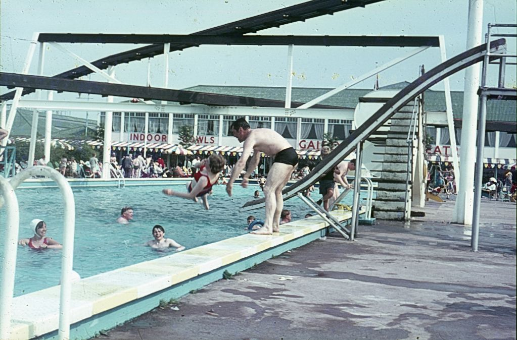 The swimming pool at a holiday camp