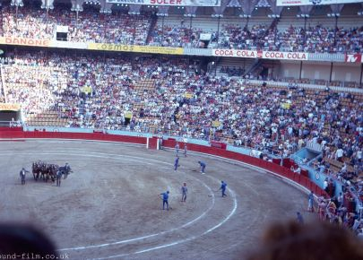 A bull fight in a Spanish bull ring