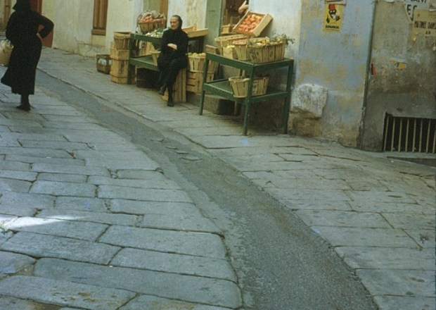 A picture of a shop in Corsica from 1962
