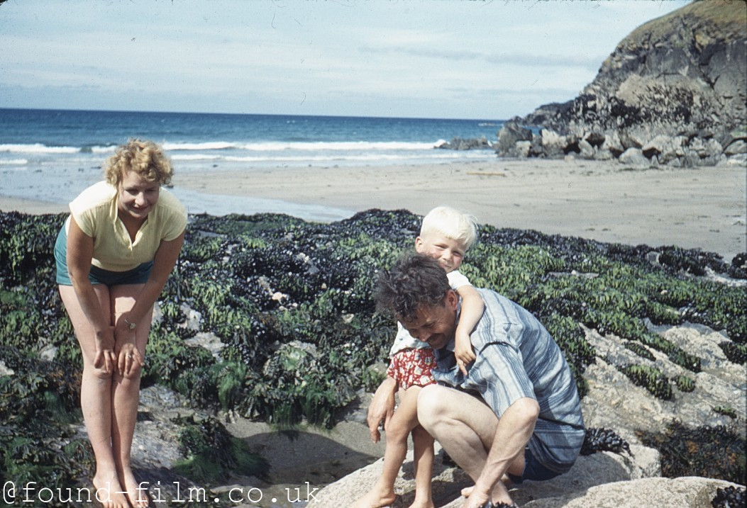 Family playing in a rock pool at Lundy Bay - 1961