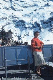 Portrait of a woman in a mountainside cafe in 1961