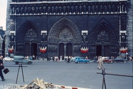 By the gates of Notre Dame in Paris c1965