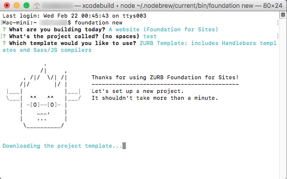 Foundation 6 macOS Sierraにnpmでインストール foundation-cli編