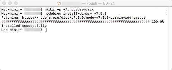 Node.jsサイトのインストール成功イメージです