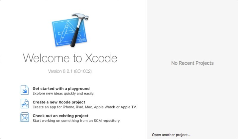 Xcode Welcomeのイメージです