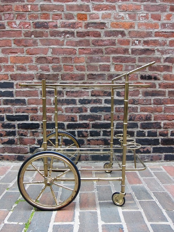 Vintage Brass Bar Cart With Faux Bamboo Details